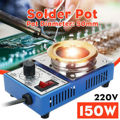 150W 50mm 220V AC Soldering Pot Stainless Steel Plate 200-480 Degree Replacement