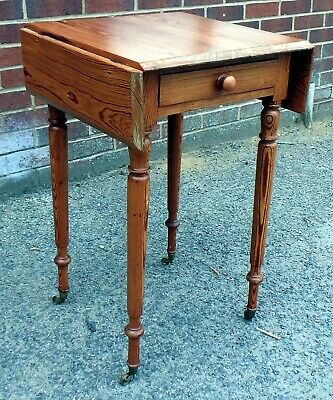 Victorian antique Gothic Arts Crafts pitch pine dropleaf drawer lamp side table