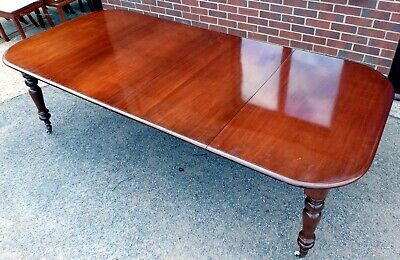 William IV antique style solid figured mahogany extending dining table seats 12