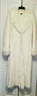 Great Vintage 1970s White Faux Fur Maxi Coat by Bebe XSmall / Small