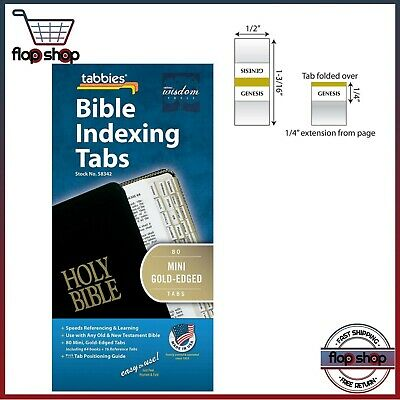 80 Mini Gold-Edged Bible Indexing Index Tabs Book Labels Old & New Testament