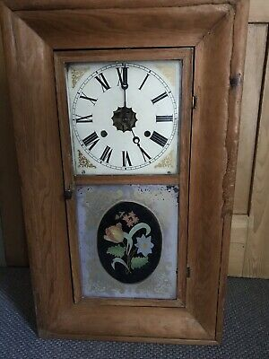Pine American Style Antique Wall Clock