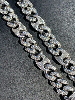 Men's Miami Cuban Gucci Link Chain Diamond Real Stainless Steel Figarucci Choker
