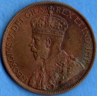 Canada 1914 1 Cent One Large Cent Coin - AU+