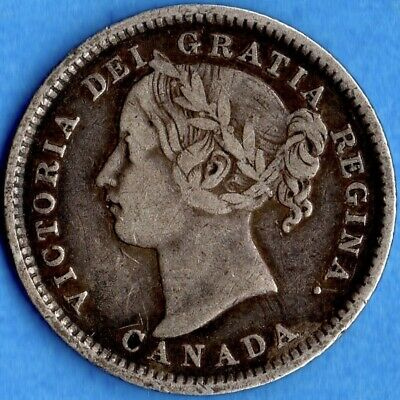 Canada 1896 10 Cents Ten Cent Silver Coin - F/VF