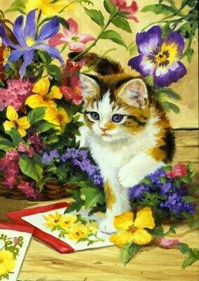 Toland Tomcat Tulips 12 5 X 18 Kitty Cat Flower Floral Spring Garden Flag 8 98 Picclick