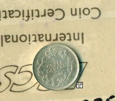 ICCS Canada 1902 H  5cents coin ; MS-63 ; Cert # TF 678 ; Small H