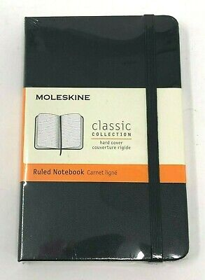 "NEW SEALED Moleskine Black Ruled Notebook Small 3.5"" x 5.5"" 192 Pages Pocket"