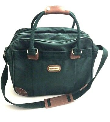 Jaguar Green Canvas Leather Duffel Carry On Airplane Overnight Weekender Bag