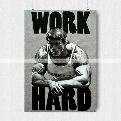 Arnold Schwarzenegger Poster Gym Conquer  Motivation Quote A3 A4 Size