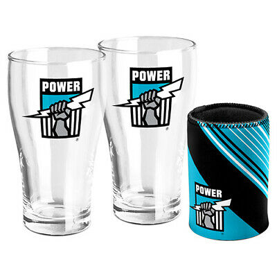 Afl Port Adelaide Power Set Of 2 Pint Glasses & Can Cooler Gift Boxed 600Ml