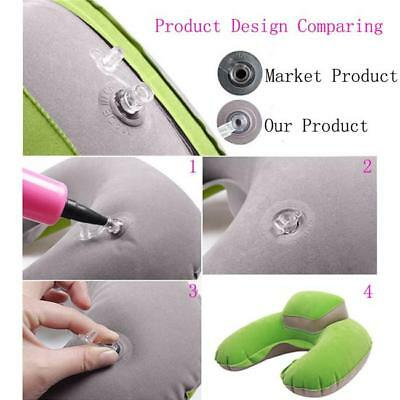 Inflatable U-Shape Travel Pillow Air Cushion Neck Rest Compact Plane Flight JJ