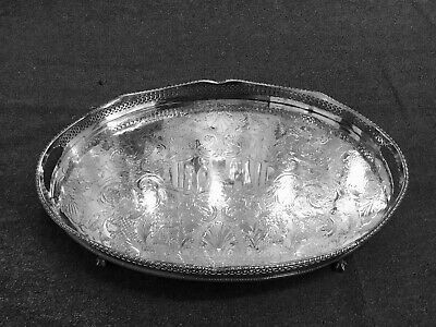 Vintage Sheffield Silver plate on copper gallery tray ball & claw feet.