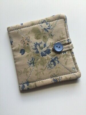 Needlecase fabric Blue floral Felt page inside Gift Present Needles Book Quilted