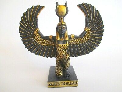 Isis Kneeling Figure Egypt 5 7/8in Polyresin Decor Egypt Black Gold