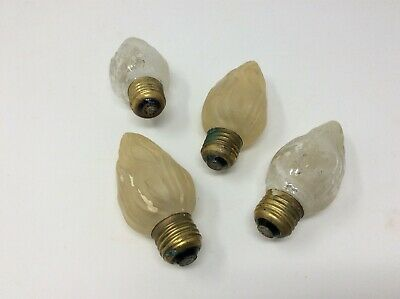 Set of 4 Vintage GE Flame Frosted Light Bulbs Christmas Crafts Decorations