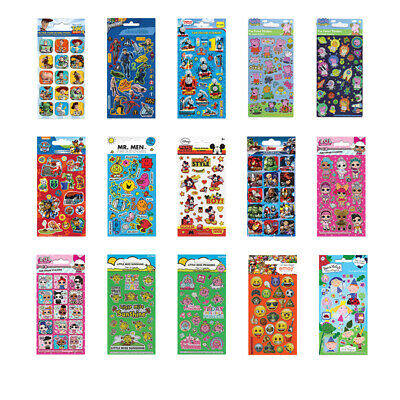 FOIL STICKER SHEETS Kids Licensed Character Birthday Party Gift Loot Bag Fillers