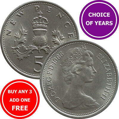 Decimal Large Five Pence 5p Coin - 1968 to 1989 - Elizabeth II - Choose Year