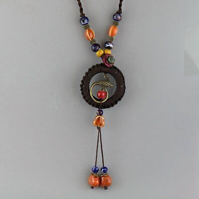 Collect Old Porcelain Glaze & Bronze Hand-Caeved Phoenix Noble Delicate Necklace