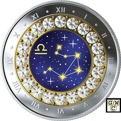 2019 'Libra -Zodiac Series' Crystalized Proof $5 Silver Coin .9999 Fine(18815)NT