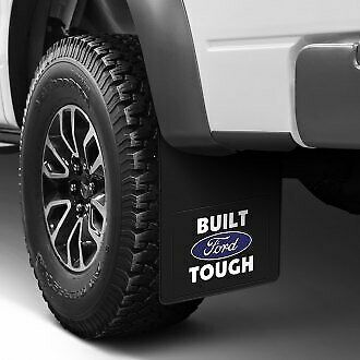 2pc Licensed Black 12X23 Oval Logo Rear Splash Guards Truck Mud Flaps for Ford