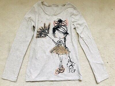 Girls Beige Patterned With Sequin Long Sleeve Top Age 10 Years From Next