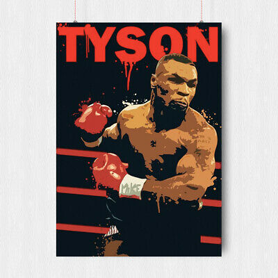 Iron Mike Tyson Boxing Poster Wall Art Abstract Sport Legend  A3 A4 Size
