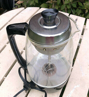 VINTAGE SCM PROCTOR SILEX GLASS ELECTRIC COFFEE POT PERCOLATOR -12 CUP -1970's