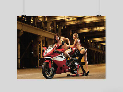 Hot Sexy Women Girls Superbike Motorbike Poster Adult Erotic  A4 A3 Size