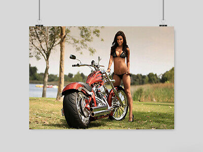 Hot Sexy Girl Superbike Motorbike Poster Chopper Adult Erotic  A4 A3 Size