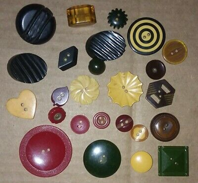Lot 25 Antique Bakelite Buttons - Chunky Art Deco Carved Flowers Cookies Heart +
