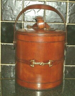 POSH Quality Leather Ice Bucket & Tongs. Gold Horse Bit Decoration HAND MADE