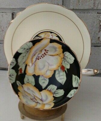 Paragon Teacup and Saucer Yellow With Hand Painted Gardenia Flowers on Black