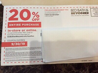 BED BATH BEYOND COUPON 20%  OFF ENTIRE PURCHASE EXPIRES 9/30/19 SHIPS Same Day