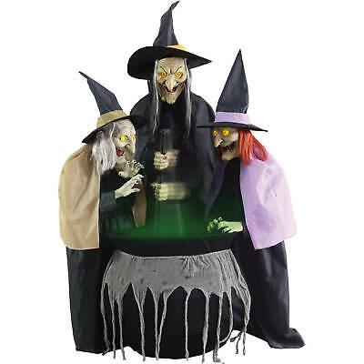 3 Black Dressed Pointed Hats Witches Brew Animated Halloween Outdoor Decoration