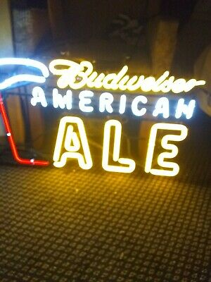 Dimmable Bud American Ale Neon Beer Sign Man Cave Bud Light Brewery Game Room.