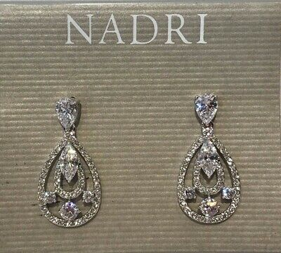 Jewellery & Watches $55 Eliot Danori by Nadri Silver Tone Cubic Zirconia Tear Drop Earrings NEW