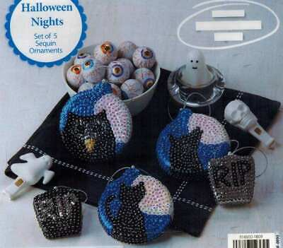 Herrschners Halloween Nights Sequin Ornament KIT Makes 5