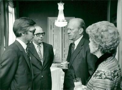 Photograph of Ola Ullsten, Hans Blix, US President Gerald Ford and Betty Ford at