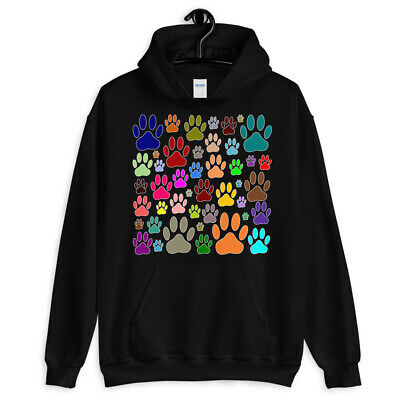 Colorful Dog Paw Print Pattern Hoodie For Men and Women - NEW