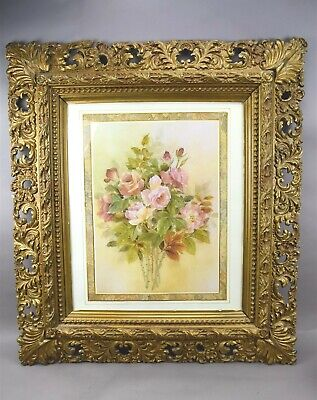 """Antique Ornate Wooden Gold Picture Frame Large Leaves w Glass 37"""""""