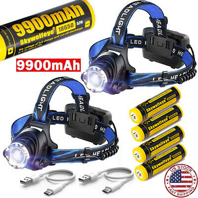 350000Lumen Zoomable T6 LED Headlamp USB Rechargeable 18650 Headlight Head Light