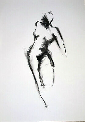 A3 ORIGINAL ART DRAWING * Charcoal on paper * NUDE MOVEMENT   #1 *  Artist Poppi