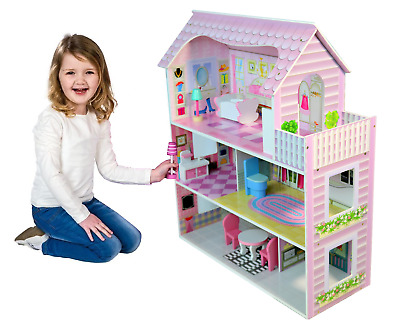 Large Wooden Childrens Dollhouse Pink Fits Barbie Includes 8 Pcs Furniture