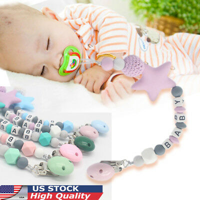 Baby Silicone Teething Soother Bead Infant Dummy Clip Pacifier Chain Chew Toy 34