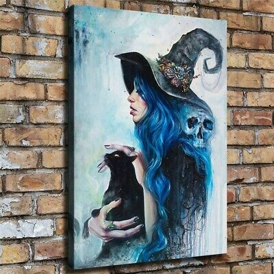 """Witch and Cat Halloween Painting HD Print on Canvas Home Decor Wall Art 18x24"""""""