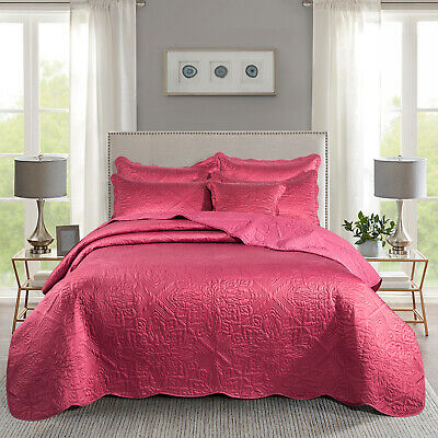 3 Piece Quilted Bedspread Burgundy Godiva King Size Bed Throw With Pillow Cases