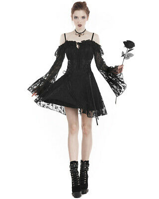 Dark In Love Gothic Lace Skater Mini Dress Black Steampunk Witch Vampire Lolita