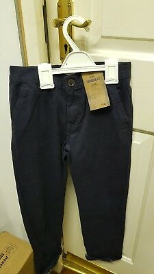 BNWT F&F By Tesco Boy's Navy Twisted Fit Cotton Trousers Size 7-8 Years