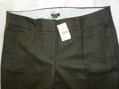 J. Crew Academy Trouser Pants Favorite Fit Wool Olive Green Heather Size 12 NWT